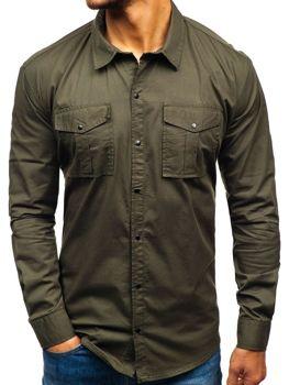 2323d14d324e Khaki pánska košeľa s dlhými rukávmi BOLF 2058-1