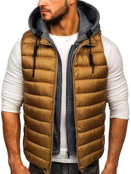 Khaki pánska prešívaná vesta s kapucňou Bolf B2679