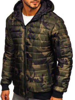 Khaki pánska športová prechodná bunda s maskáčovým vzorom Bolf MY13M