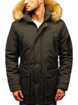 Khaki pánska zimná bunda parka BOLF R102