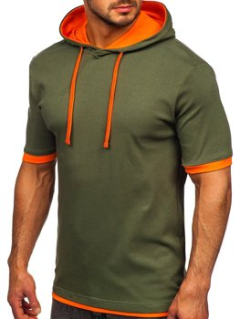Khaki pánske tričko bez potlače, s kapucňou Bolf 08