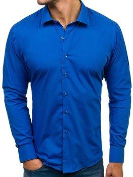 Kobaltová pánska elegantá košeľa s dlhými rukávmi BOLF TS100