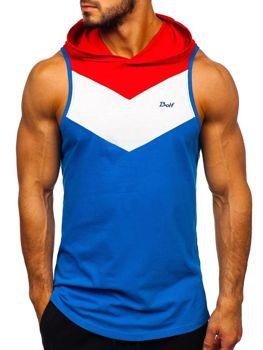 Kobaltové pánske tričko bez rukávov s kapucňou BOLF 1282