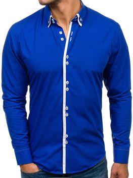 Kráľovský modrá pánska elegantá košeľa s dlhými rukávmi BOLF 1721