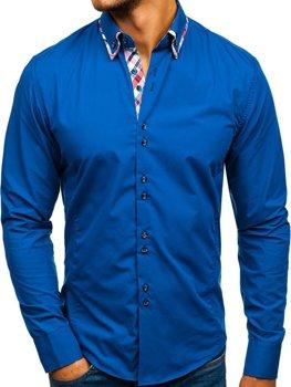 Kráľovský modrá pánska elegantá košeľa s dlhými rukávmi BOLF 4704-1