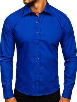 d80e34944e8a Kráľovsky modrá pánska elegantná košeľa s dlhými rukávmi BOLF 1703