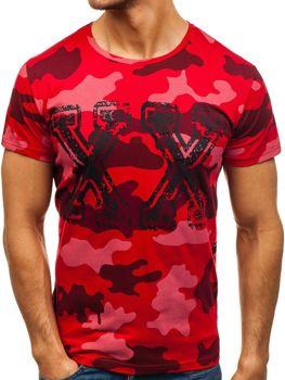 Maskáčovo-červené pánske tričko s potlačou BOLF 2100