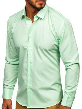 Mätová pánska elegantná košeľa s dlhými rukávmi Bolf 0001