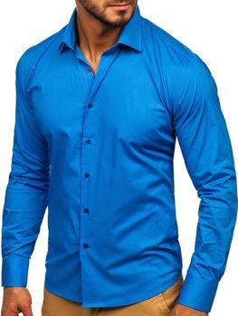 Modrá pánska elegantná košeľa s dlhými rukávmi Bolf TS50