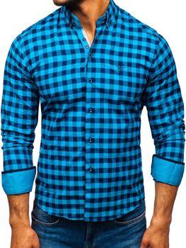 c3fd0b831e4e Modrá pánska károvaná košeľa s dlhými rukávmi BOLF 5816-A
