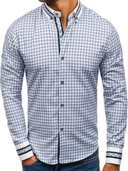 Modrá pánska károvaná košeľa s dlhými rukávmi BOLF 8808