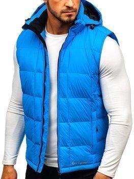 Modrá pánska prešívaná vesta s kapucňou BOLF A5502