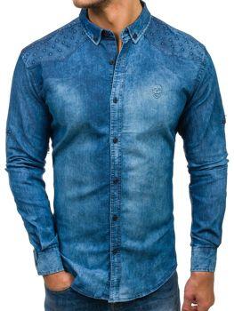 Modrá pánska riflová košeľa s dlhými rukávmi BOLF 0540