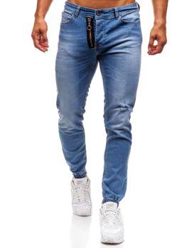 Modré pánske riflové jogger nohavice BOLF 2043