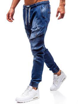 Modré pánske riflové jogger nohavice BOLF 2048