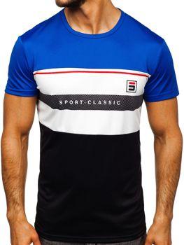 Modré pánske tréningové tričko s potlačou Bolf SS10995