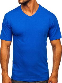 Modré pánske tričko bez potlače s výstrihom do V Bolf 192131