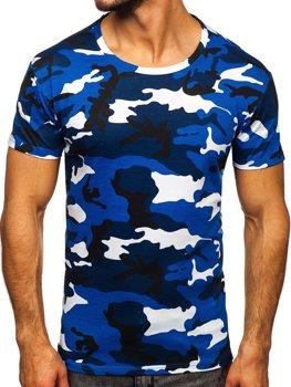 Modré pánske tričko s maskačovým vzorom Bolf S807