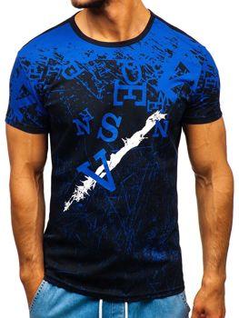Modré pánske tričko s potlačou BOLF 100650