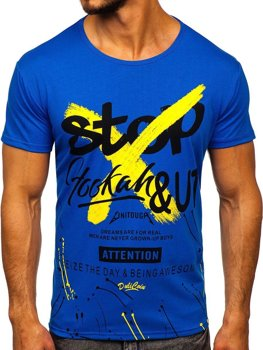 Modré pánske tričko s potlačou Bolf KS1944