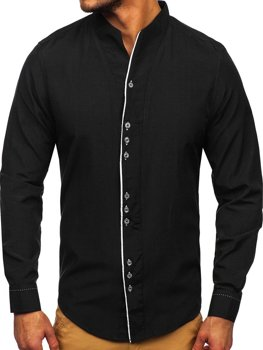 Pánska čierna košeľa s dlhými rukávmi Bolf 5720
