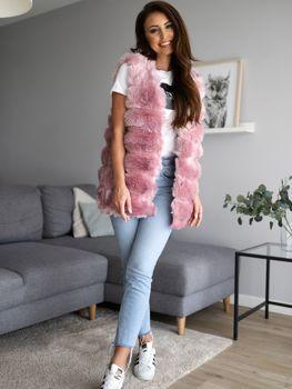 Ružová dámska kožušinová vesta Bolf MF201
