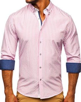Ružová pánska prúžkovaná košeľa s dlhými rukávmi Bolf 20704