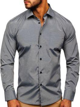Šedá pánska elegantná prúžkovaná košeľa s dlhými rukávmi Bolf NDT10