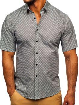Šedá pánska vzorovaná košeľa s krátkymi rukávmi Bolf TSK101