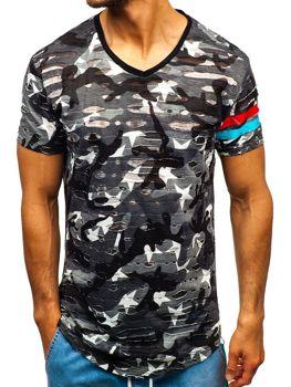 0ea0fc5849a6 Šedé maskáčové pánske tričko s potlačou BOLF 309