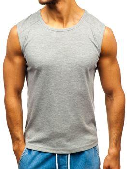 Šedé pánske tričko bez potlače BOLF C3066