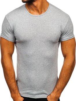 Šedé pánske tričko bez potlače Bolf 0001