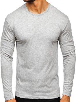 Šedé pánske tričko s dlhými rukávmi bez potlače Bolf 1209