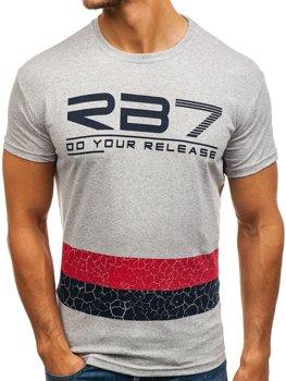 Šedé pánske tričko s potlačou BOLF 0008