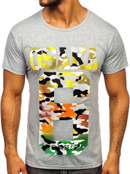 Šedé pánske tričko s potlačou Bolf KS1958