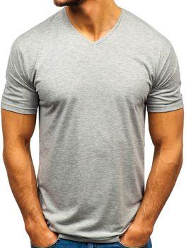 Šedé pánske tričko s výstrihom do V bez potlače BOLF 172010-A
