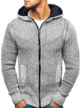 e2118dbebc6a Šedo-čierny pánsky sveter BOLF 20008
