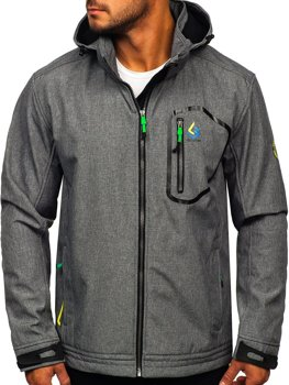 Šedo-zelená pánska softshellová prechodná bunda Bolf