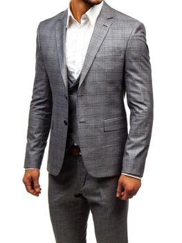 Šedý pánsky oblek s vestou BOLF 18300 a0c1323d0fe