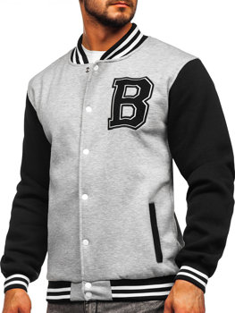 Sivá pánska baseballová mikina/bunda bez kapucne s potlačou Bolf 10