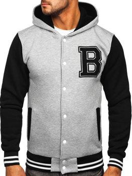 Sivá pánska baseballová mikina/bunda s kapucňou a potlačou Bolf 07