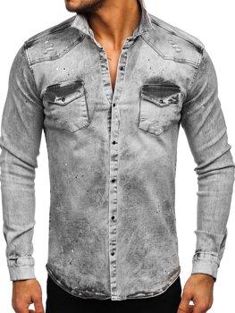 Sivá pánska riflová košeľa s dlhými rukávmi Bolf R709