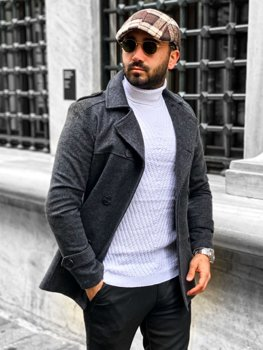 Sivý pánsky zimný dvojradový kabát s vysokým golierom a opaskom Bolf 0009