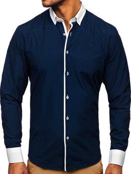 Tmavomodrá pánska elegantná košeľa s dlhými rukávmi Bolf 2782