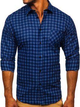 Tmavomodrá pánska flanelová košeľa s dlhými rukávmi Bolf F8-1