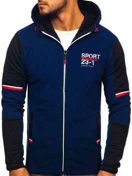 Tmavomodrá pánska flísová bunda s kapucňou Bolf YL006