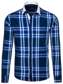Tmavomodrá pánska kockovaná košeľa s dlhými rukávmi BOLF 6960