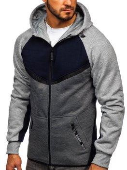 Tmavomodrá pánska mikina na zips s kapucňou Bolf 80688