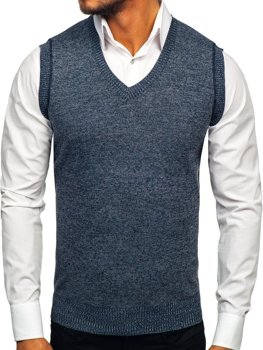 Tmavomodrá pánska pletená vesta Bolf 8121