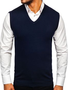 Tmavomodrá pánska pletená vesta Bolf H1939